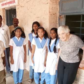 Helen visiting the children at their school in Bori.
